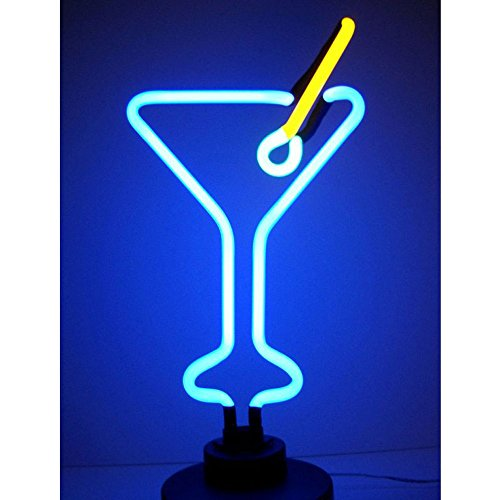 Neonetics Martini Neon Sign Sculpture Real Hand Blown Glass Tubes, Measures 8 in Wide by 19 in tall-4MARTX, Blue, Yellow and Green
