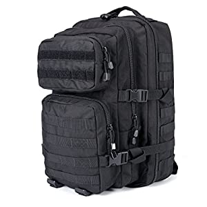 Military Tactical Backpack 50L Survival Gear Backpacking Large Hydration Molle Bug Out Bag 3 Day Assault Pack Rucksacks Daypack for Outdoor Travel Hunting Camping Hiking Shooting, Black