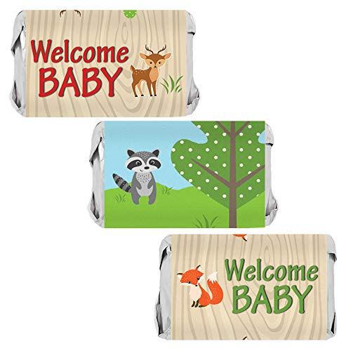 Woodland Animals Baby Shower Mini Candy Bar Wrappers - 45 Stickers (New Baby Chocolate Decoration)