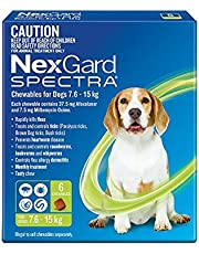 Nexgard, Flea, Tick & Worming Monthly Chew, Spectra, Dog, 7.6-15kg, 6pk