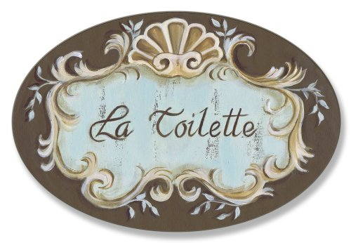 Stupell Home Décor La Toilette Aqua And Brown Scallop Shell Crest Oval Bathroom Wall Plaque, 10 x 0.5 x 15, Proudly Made in USA ()