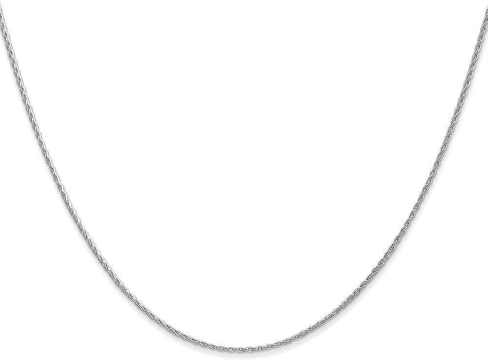 Brilliant Bijou 14K White Gold Parisian Wheat Chain Necklace
