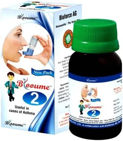 Blooume 2 Asthmasan Drop 30ml for Bronchial Asthma, Allergic asthma, Coughing attacks, Breathing, Irritation in Throat Lots of 2