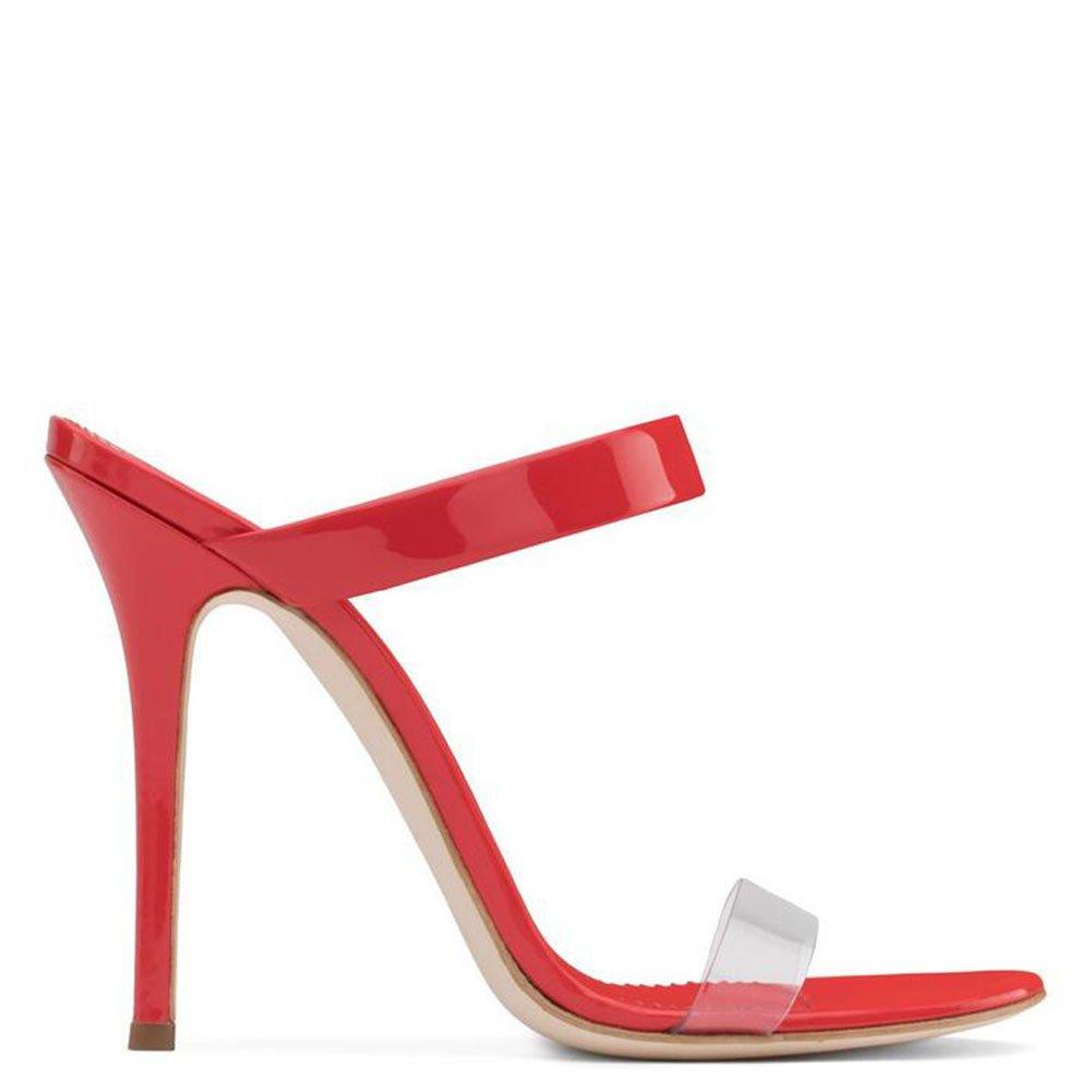 Rouge 34 EU Femmes Chaussures PVC Europe Et Les états-Unis Femmes Sandales à Talons Hauts Pantoufles été éclairer Les Chaussures Talons Talon Stiletto