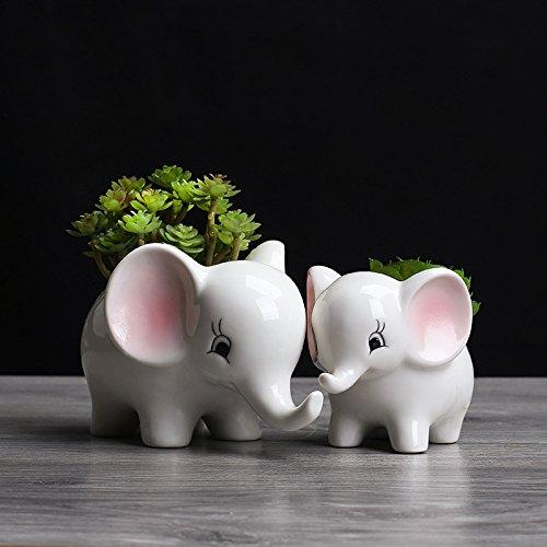 Best Garden Tools Set of 2 Cute Cartoon Elephant White Ceramic Flower Pot for Succulents Cactus Plants Mini Pot Planter Home Garden Decoration