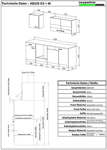 respekta KB220ESW 220 cm colore: Bianco Cucina componibile americana in rovere sonoma grezzo