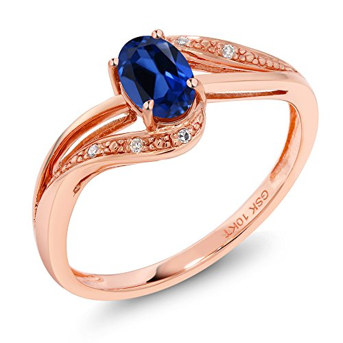 Gem Stone King 10K Rose Gold Blue Simulated Sapphire and Diamond Women's Engagement Bypass Ring (0.54 Ct Available 5,6,7,8,9) (Size 9) ()