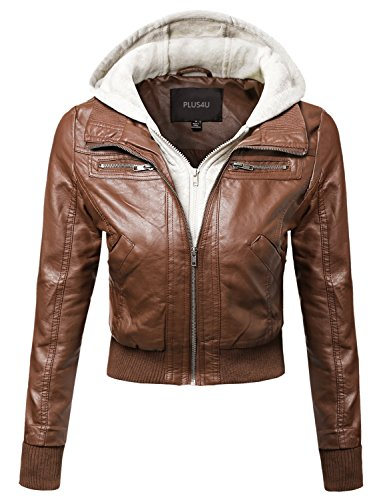 Faux Leather Bomber Military Style Hooded Jacket Plus Size Oatmeal Size 2XL (2xl Brown Leather Jacket)