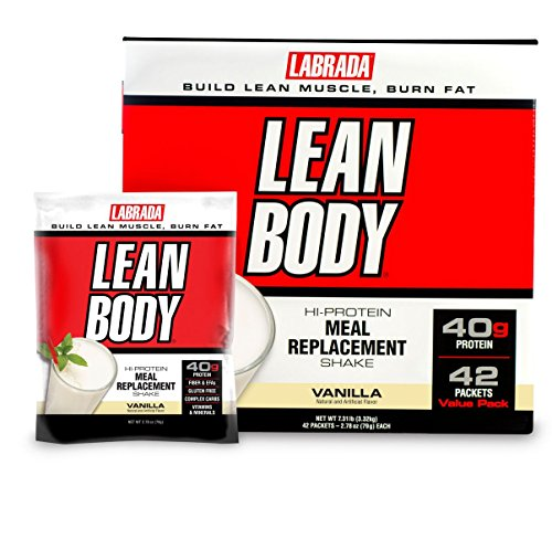 Labrada Nutrition Lean Body Meal Replacement Shake, Vanilla Ice Cream, 2.78-Ounce Packets (Pack of 42)