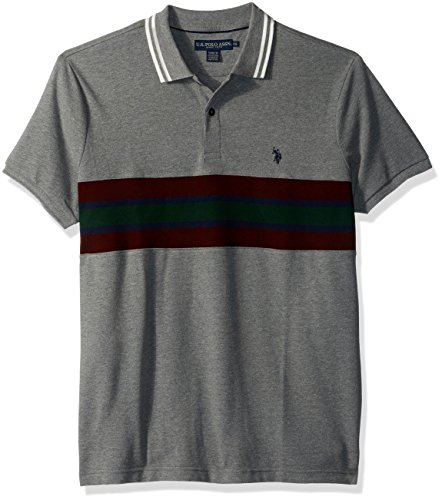 U.S. Polo Assn. Men's Slim Fit Color Block Short Sleeve Pique Polo Shirt
