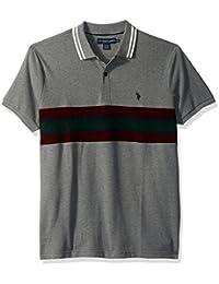 Men's Slim Fit Color Block Short Sleeve Pique Polo Shirt