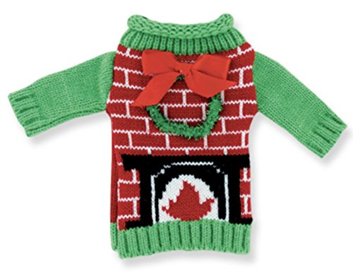 Uncle Bob's Christmas Holiday Ugly Sweater Knitted Wine Bottle Cover (Wreath Fireplace) -