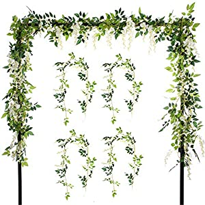 Felice Arts 2 Pcs Artificial Flowers 6.6ft/Piece Silk Wisteria Ivy Vine Green Leaf Hanging Vine Garland for Wedding Party Home Garden Wall Decoration 6