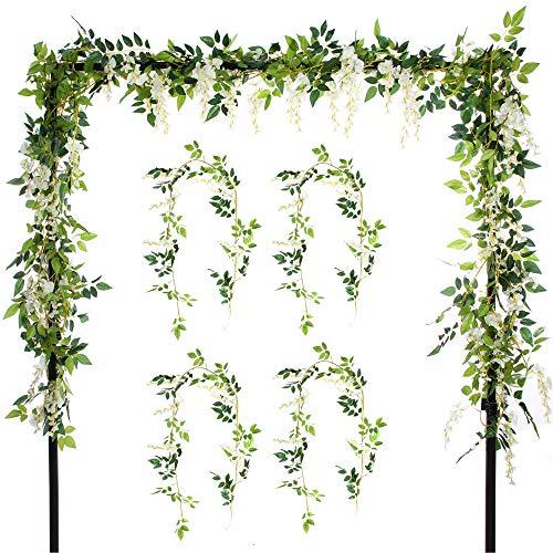 Felice Arts 4 Pcs Artificial Flowers 6.6ft/Piece Silk Wisteria Ivy Vine Green Leaf Hanging Vine Garland for Wedding Party Home Garden Wall Decoration, Cream ()