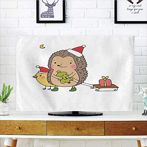 SINOVAL LCD TV Cover Multi Style,Hedgehog,Cartoon Hedgehog with Bird and a Christmas Tree Pulling Sled Holiday Themed Image,Compatible 47