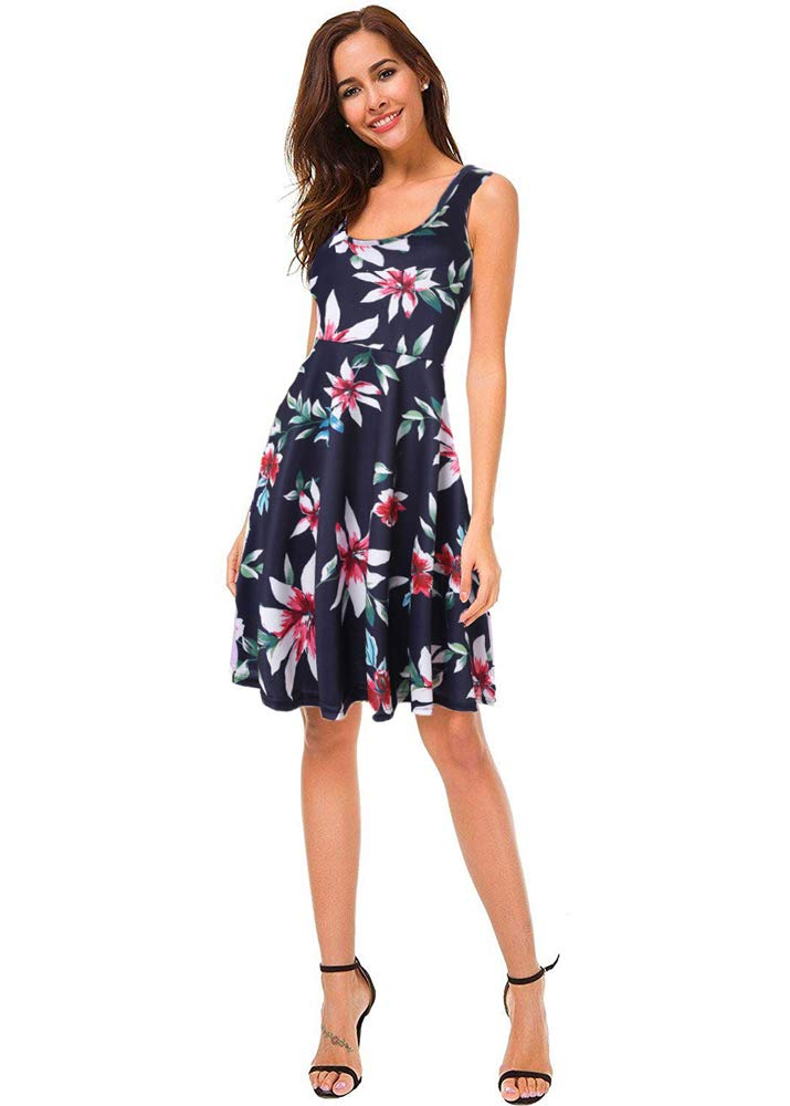 07bf7c95bdc8 Women s Summer Casual Dresses Sleeveless Floral Scoop Neck Midi A Line Tank  Dress (Floral Navy-2