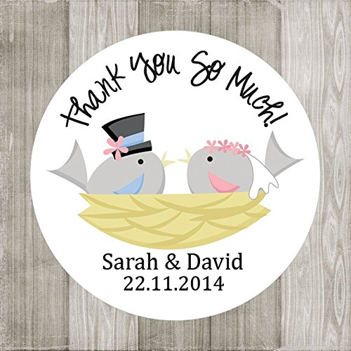 amazon com bride and groom birds thank you stickers wedding label