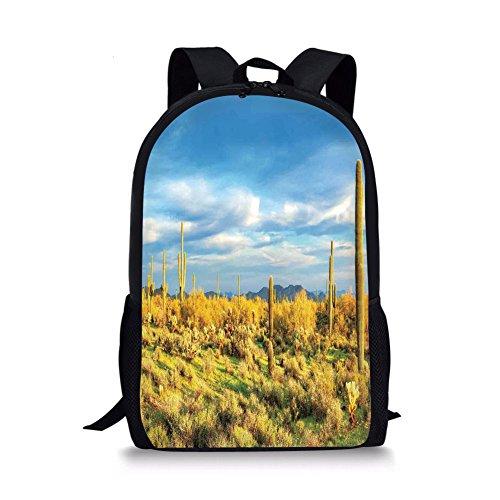 iPrint School Bags Saguaro Cactus Decor,Floral Cactus Catching