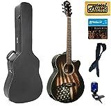 Oscar Schmidt OG10CE Cutaway Concert A/E Guitar, American Flag, Case Bundle