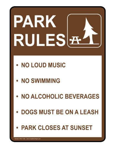 ComplianceSigns Plastic Parks / Camping Sign, 14 x 10 in. with English Text, Brown