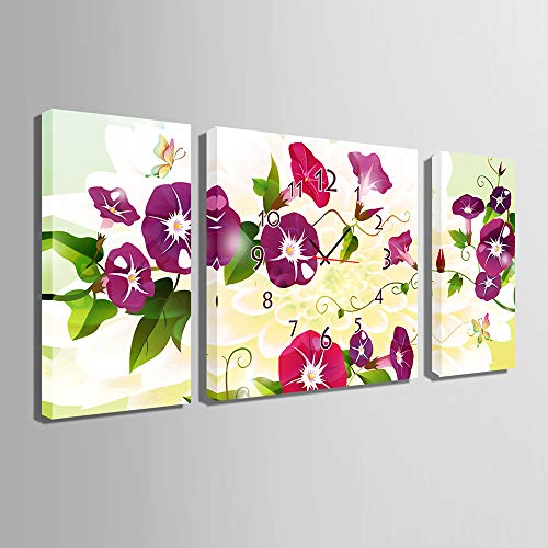3 Panel Canvas Art Wall Clock for Home Indoor Decor Frameless Painting Flower Print On Canvas The Pictures,Ready to Hang(Size:40×80CM×2+80×80CM×1) by HSRG (Image #1)