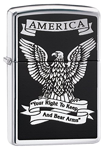 Zippo American Eagle Pocket Lighter, High Polish Chrome
