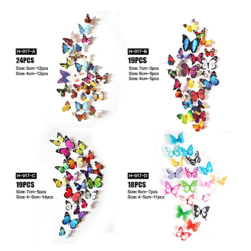Eoorau 80PCS Butterfly Wall Decals - 3D Butterflies Decor for Wall Removable Mural Stickers Home Decoration Kids Room… 4