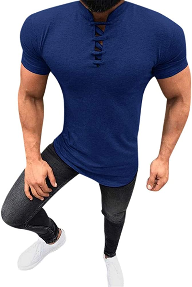 MEIbax Moda Collar de pie Camisa Manga Corta Hombre Verano Ocio ...