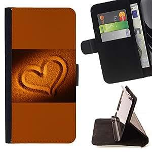 For LG G4 Stylus / G Stylo / LS770 H635 H630D H631 MS631 H635 H540 H630D H542 Case , La arena del oro de Brown Amor Romántico- la tarjeta de Crédito Slots PU Funda de cuero Monedero caso cubierta de piel