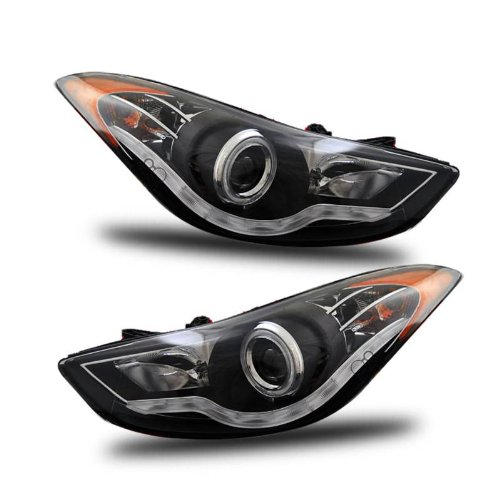 SPPC Projector Headlights Black Assembly Set (CCFL Halo) For Hyundai Elantra - (Pair) Driver Left and Passenger Right Side Replacement Headlamp ()