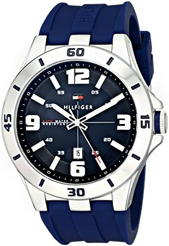 Tommy Hilfiger Men s 1791062 Stainless Steel Watch with Blue Silicone Band