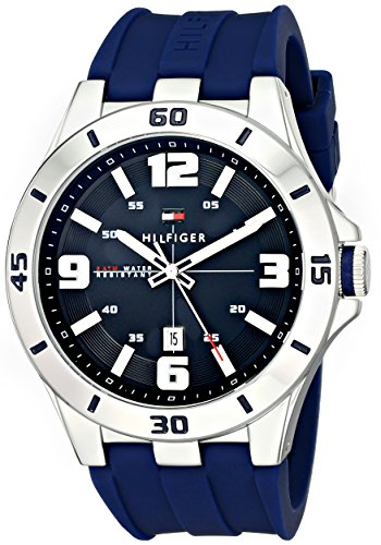 - Tommy Hilfiger Men's 1791062 Stainless Steel Watch with Blue Silicone Band
