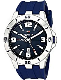 Men's 1791062 Stainless Steel Watch with Blue Silicone Band