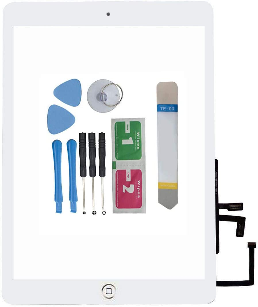 Compatible with ipad 2017 ipad 5 Touchscreen Digitizer (White) for A1822 A1823 A1474 A1475, with Home Button, Convenient Matching Tape (Sealing Tape), Free Touch Screen Removal Tool