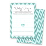 MyExpression.com 24 Cnt Teal Baby Feet Footprint Baby Bingo Cards
