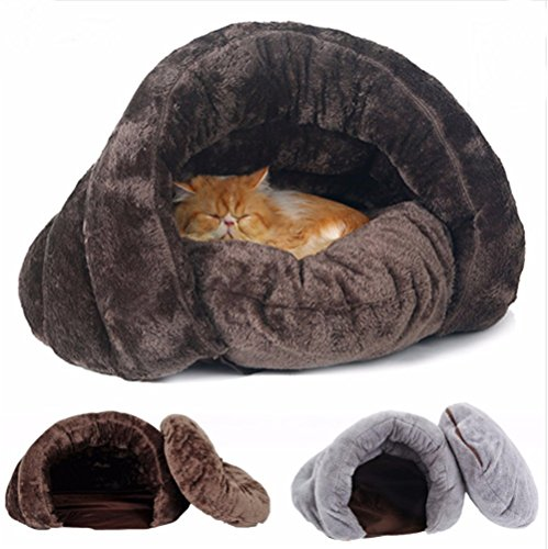 Dog Cat Warming Soft Sleeping Bag Sack Bed Cave Pet House Blanket Mat Cushion (M, Coffee)