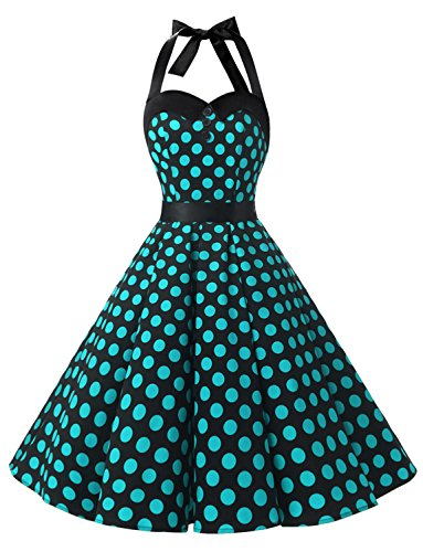 Dressystar Vintage Polka Dot Retro Cocktail Prom Dresses 50's 60's Rockabilly Bandage Black Blue dot m