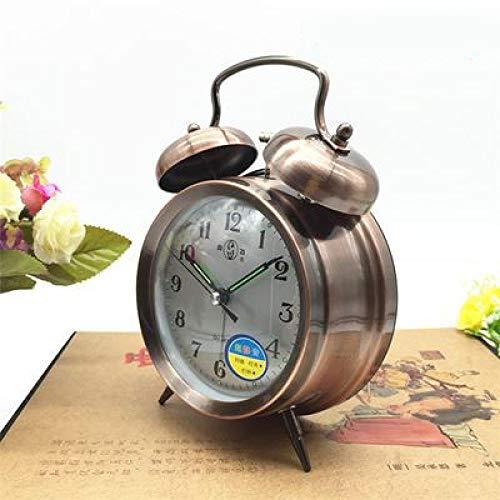 YANXM Alarm Clock Mechanical Vintage Upper Clockwork Pure Copper Metal Winding Clock Nostalgic Manual Student Horseshoe Table Work