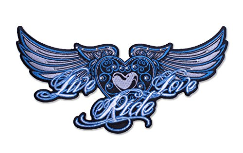Womens Biker Patches: Live Love Ride Embroidered: Five Colors: Purple Small (Harley Davidson Logo Patch)