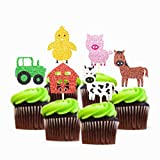 Glitter Farm Zoo Animal Cupcake Topper Appetizer Decorations Cake Picks 24 pieces Birthday Party Baby Shower Supplies