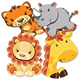Funfari - Fun Safari Jungle - Giraffe, Lion, Tiger and Rhino Decorations DIY Baby Shower or Birthday Party Essentials - Set of 20