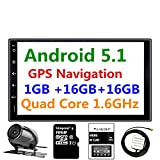 Panlelo PA09YZ16, 7 Inch Double Din Car Stereo Android 5.1 Quad Core RAM 1G ROM 16G GPS Navigation Head Unit Audio Radio 1080P Video Player Built in Wi-Fi BT AM/FM/RDS SWC (no dvd player)