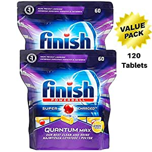 Dishwasher Tablets Powerball Quantum Finish Max Supercharged Pods - 120 Dishwasher Tablets - Lemon Scented Sparkle Detergent 2 Pack
