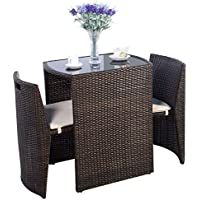 Giantex 3 PCS Cushioned Outdoor Wicker Patio Set...