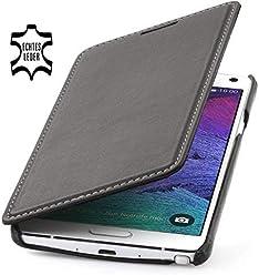 StilGut® Book Type Case, custodia con funzione di supporto in vera pelle a libro per Samsung Galaxy Note 4, nero nappa