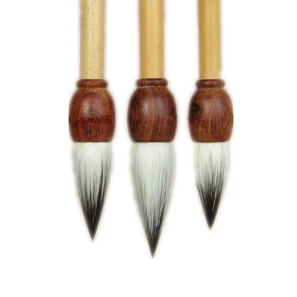 Top Grade Large Medium Small Chinese Japanese Calligraphy Painting Brush Sets (Goat Hair + Rabbit Hair)