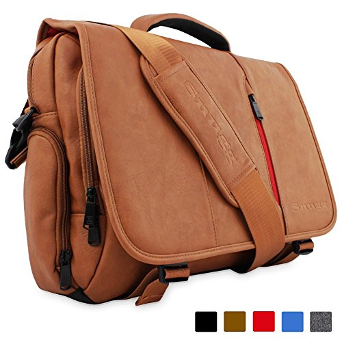 Snugg PU Leather Laptop Shoulder Bag, 15.6-Inch, Brown