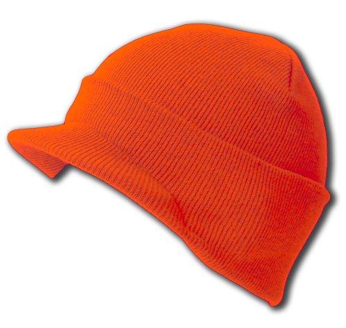 New Blank Cuff Winter Beanie Visor , Orange