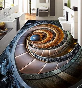 Wapel Fotomurales 3d Papel Pintado Tamaño personalizado 3D Suelo Mural Creatividad Escalera De Caracol Living Dormitorio Estudio 3D Piso Azulejos Wallpaper 300x210cm: Amazon.es: Bricolaje y herramientas