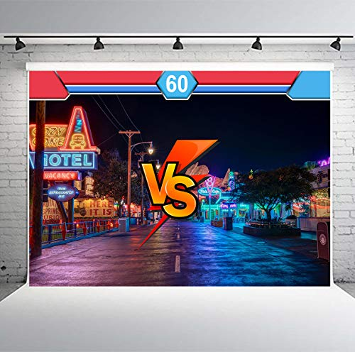 PHMOJEN Street Fighter VS Backdrop Red Blue Players Night Lights Photography Background Vinyl 7x5ft Photo Studio Props LSPH003